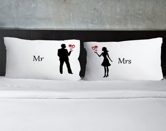 ON SALE ** Mr & Mrs - Engagement gift, Wedding Gift, Pillowcases, Couples pillow cases, His and Hers Pillowcase, Decorative, Gift for bride