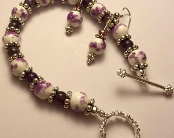 Purple perl beaded bracelet earring set