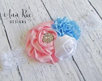 Blue and Pink Baby Headband, Newborn Headband Girls Headband For Baby Bows Flower Girl Headband Blue Headband Photography Prop Baby Headband