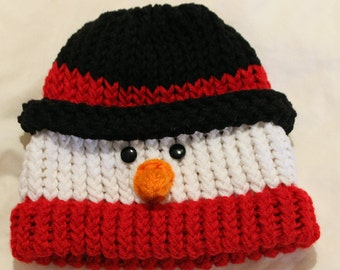 Toddler/Child Loom Knitted Snowman Hat