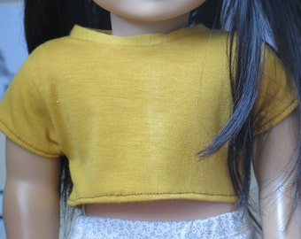 Mustard Crop Top for American Girl 18inch Doll