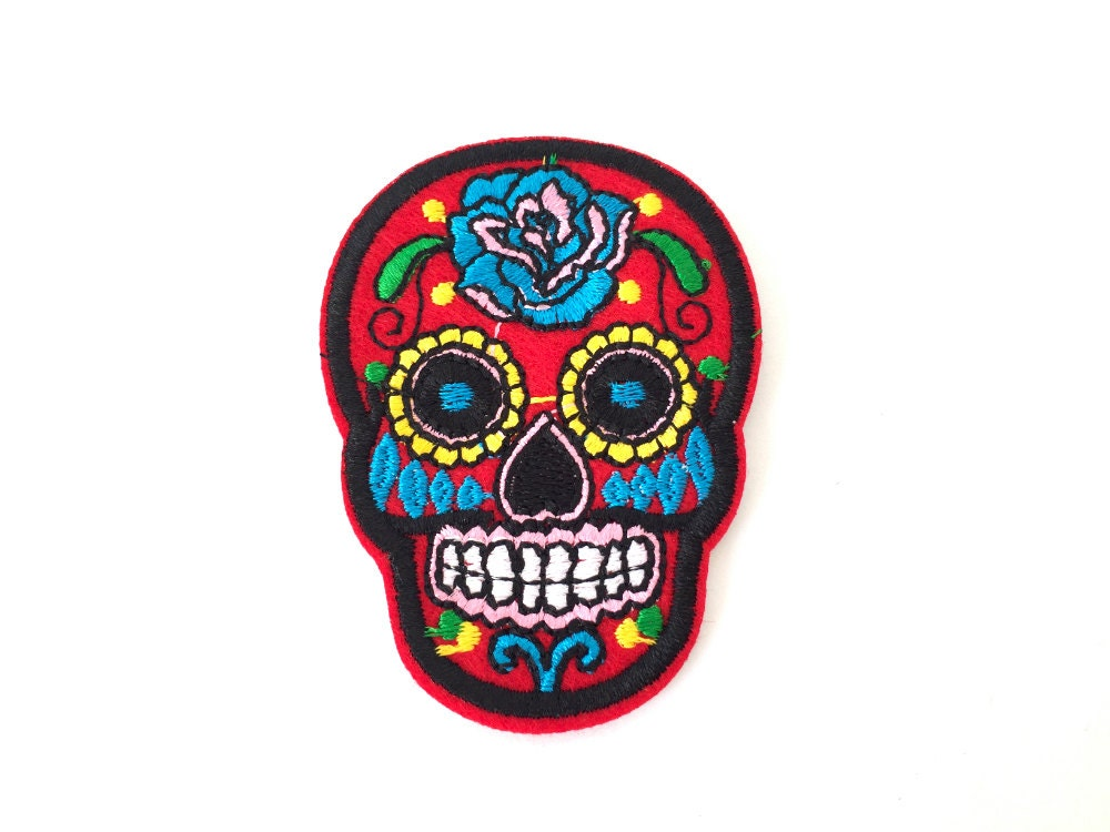 Red colorful Mexican Sugar skull iron on patch badge
