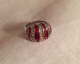 Red/Silver stone ring