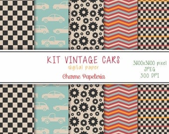 SALE Vintage cars digital paper pack