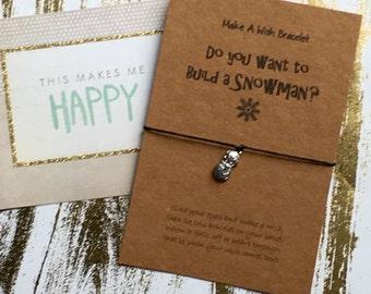 Make a Wish Bracelet / Charm Bracelet -  Do You Want To Build A Snowman?