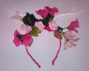 Fawn faux deer antler headband with flowers