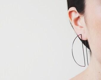 Black earrings, large earrings, long earrings, statement hoop earrings, arc earrings, dainty hoops, geometric earrings, half hoops women
