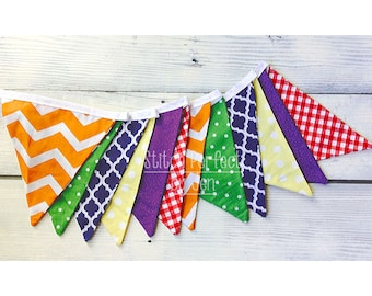 Colorful Fabric Bunting Banner, 12 Double Sided Pennant Flags, Nursery Decor, Birthday, Shower, Photo Prop, Designer's Choice