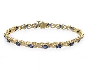 0.20 Carat Diamond and 2.55 Carat Sapphire 14k Yellow Gold Link Bracelet