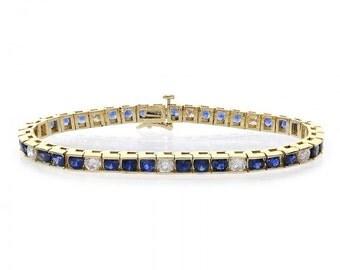 10.75 Carat Round Cut Sapphire & Diamond Channel Set Tennis Bracelet 14k Yellow Gold