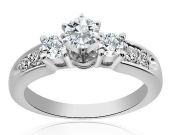 0.85 Carat F-SI1 Natural Round Brilliant Diamond Engagement Ring 14K White Gold