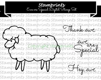 Digital Stamp Set - Ewe Are Special MFS-165 (by Stamprints).Printable Hand Drawn Illustrations & Sentiment.PaperCrafts.Wall decor. Nursery.