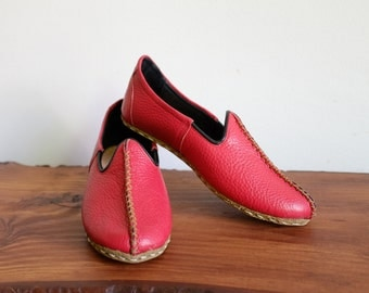 Handmade Organic Leather Slipper Shoe, Anatolian Leather Babouche, Ethnic Leather Slipper CHRISTMAS SALE! 20 OFF!