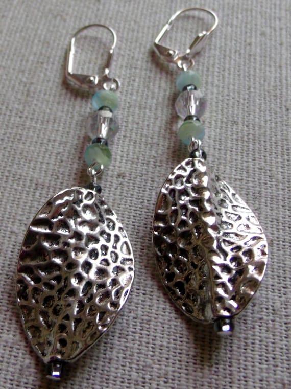 Silver twisted leaf  sea blue earrings, dangle earrings long, light weight jewelry, summer design earrings, clear austrian crystal earrings