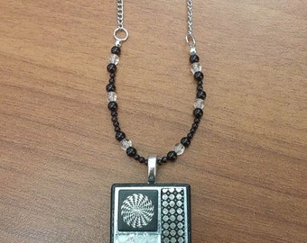 Black and White glass Pendant