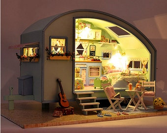 DIY Wooden Dollhouse Miniature LED Kit with Music Voice Control