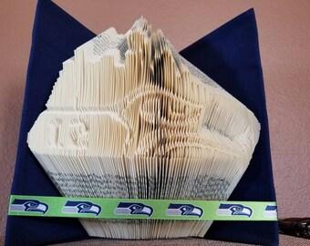 Seattle folded book art,seahawk,folded book, 12s,seattle skyline folded book,12s folded book art