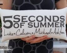 6 colors - Choose color - 5 Seconds of summer - Luke, Calum, Michael, Ashton hand made decorative pillow - 1D