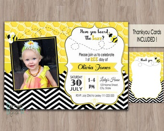 Bumble bee invitations, Bee Birthday, bumble bee birthday invitation, bee birthday invitation, girl birthday invitation, photo invations