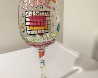 June Birthday wine glass