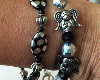 Silver Wings Angel Beaded Bracelet