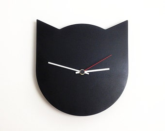 CAT Clock / Black / Wall clock / by RAGI RAGI studio