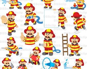 SALE - Limited Time Offer -  Lovely fireman illustration set1 - Buy 2 Get 1 Free!!