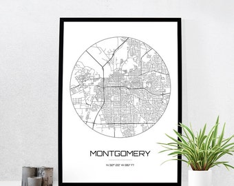 Montgomery Map Print - City Map Art of Montgomery Alabama Poster - Coordinates Wall Art Gift - Travel Map - Office Home Decor