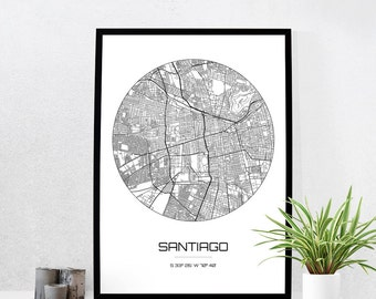Santiago Map Print - City Map Art of Santiago Chile Poster - Coordinates Wall Art Gift - Travel Map - Office Home Decor
