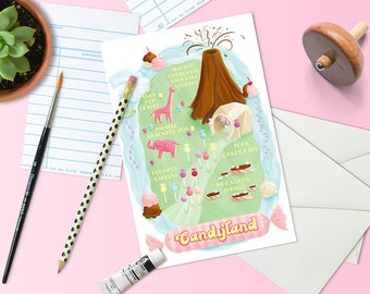 Map of Candyland Postcards | Set of 10