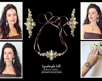 """Earrings & Necklace/Pendant/Headpiece/Bracelet SET #2 """"Queen's Magnificence"""" collection. Swarovski Crystals Pearls. Luxury Jewelry Wedding"""