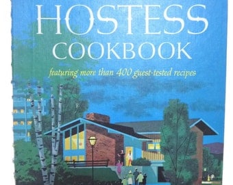 Vintage 1960's Betty Crocker's Hostess Cookbook Blue Spiral Book
