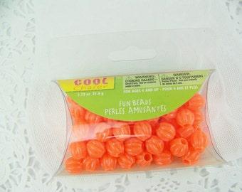 DESTASH, Pumpkin Beads, Orange Beads, Acrylic Pumpkin Beads, Orange Fluted Beads, Halloween Beads, Fall Beads