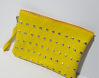 Studded zipper pouch