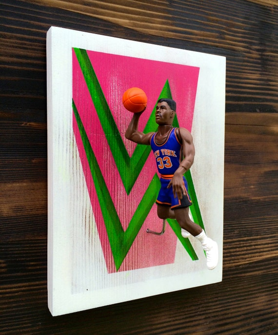 Patrick Ewing  // 3 Dimensional basketball cards  //  Reclaimed Wood Art // Starting Lineup Figure Art // 90's NBA