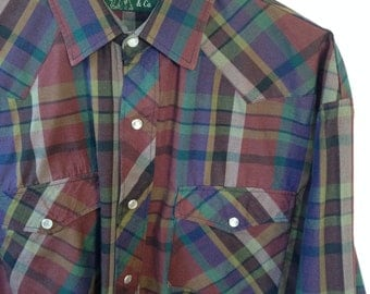 plaid western snap front shirt by J. Forest & Co.
