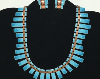 Vintage Signed Matisse Blue Enamel Copper Necklace Earring Set Renoir