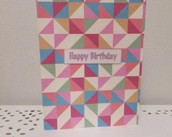 Geometric Colourful Happy Birthday Greeting Card