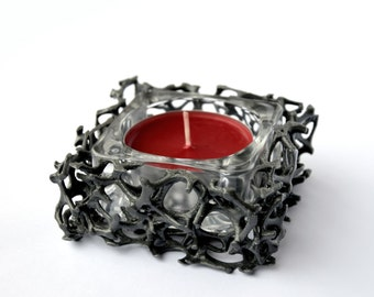 3D Printed Modern Glass Candle Holder With Candle