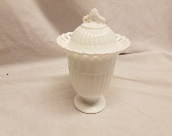 """Milk glass 8"""" Candy dish with cover"""