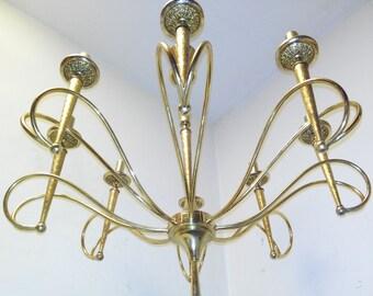 Filc chandelier gilt brass 8 luci Guglielmo Ulrich Stilnono stilnovo era signed F-I-L-C Milano marchio depositato 1960s Made in Italy