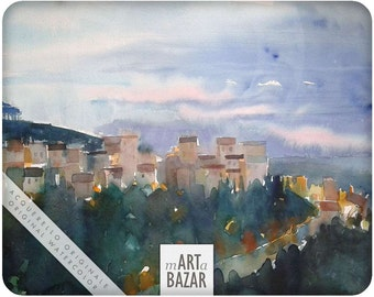 "watercolor - "" Ariccia just after sunset"""