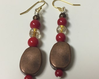 Handmade Red with Copper - Fashion Earrings