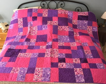 Pink and Purple Quilt, blanket, full size, quilt, purple, pink, purple and pink, handmade, girl, modern, flowers