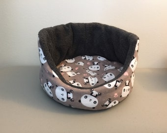 Sale!   Panda On Brown Cuddle Cup (fully reversible) for Guinea Pigs/Bunnies/Ferrets/Hedgehogs/Rats