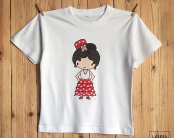t-shirt girl gitanita / tee-shirt girl gypsy / digital print