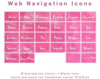 28 Web Navigation Icons - Watercolour Crimson - PNG files - Instant Download
