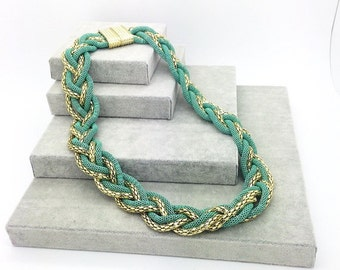 Chunky Gold Green Chain Necklace