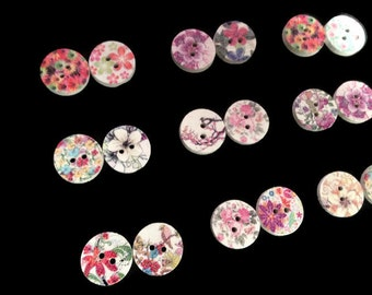 Zen landscape buttons of wood, sewing, scrapbooking, clothing accessories design hand-painted drawings love feel 15 x 15 mm Set 10 pieces