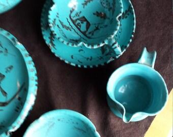 Ciavarro (Ciaurro) early 1900's Blue Dessert Set ( 23 pieces )